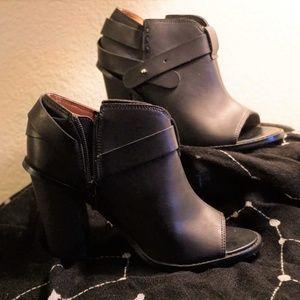 Crown Vintage Black Open Toe Ankle Boots
